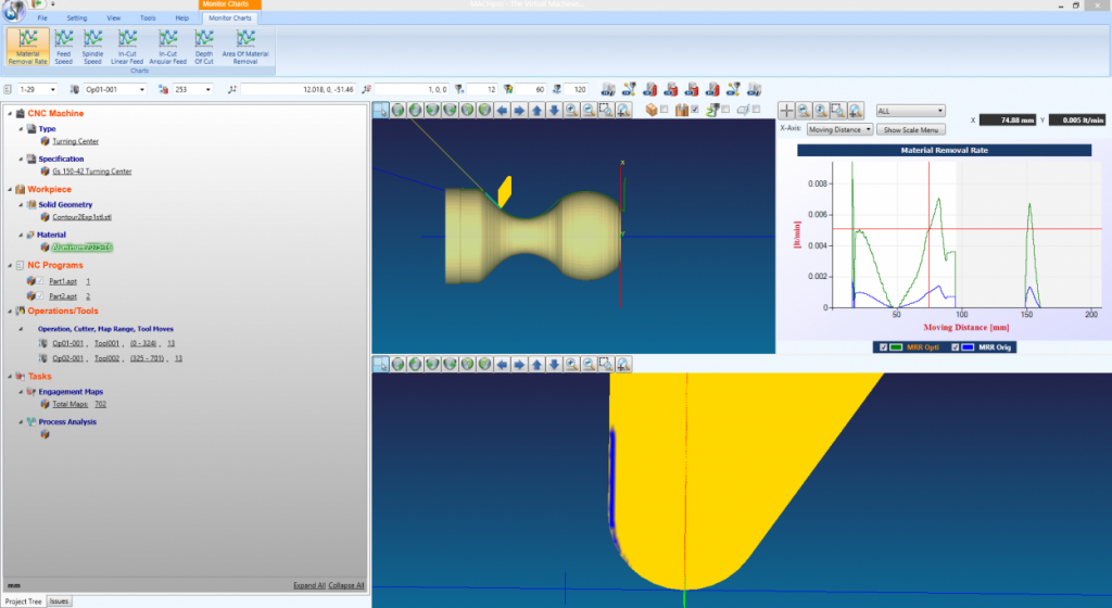 Machpro virtual machining software interface